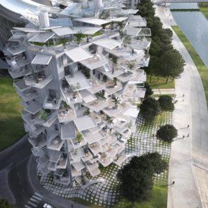 日本人建築家の藤本壮介さんがフランスに設計した多目的タワー。120室のアパートが入り